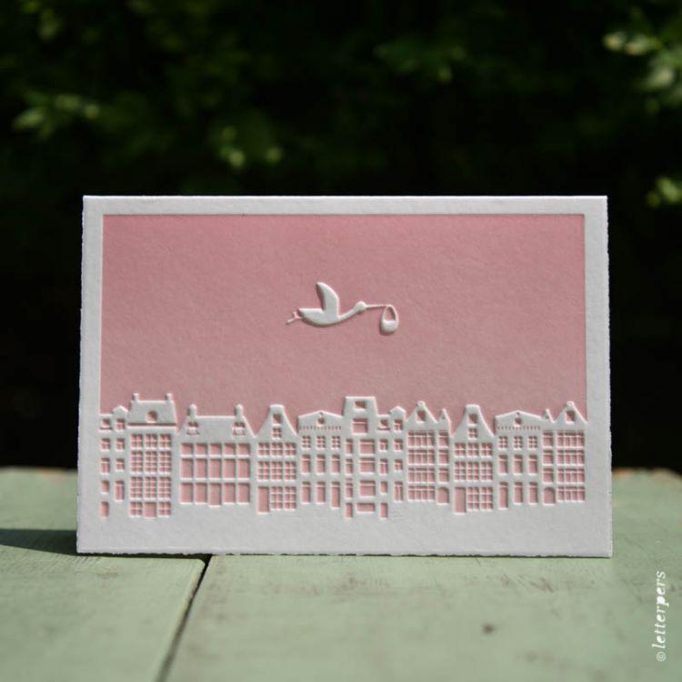 Kaart baby skyline rose, Letterpers