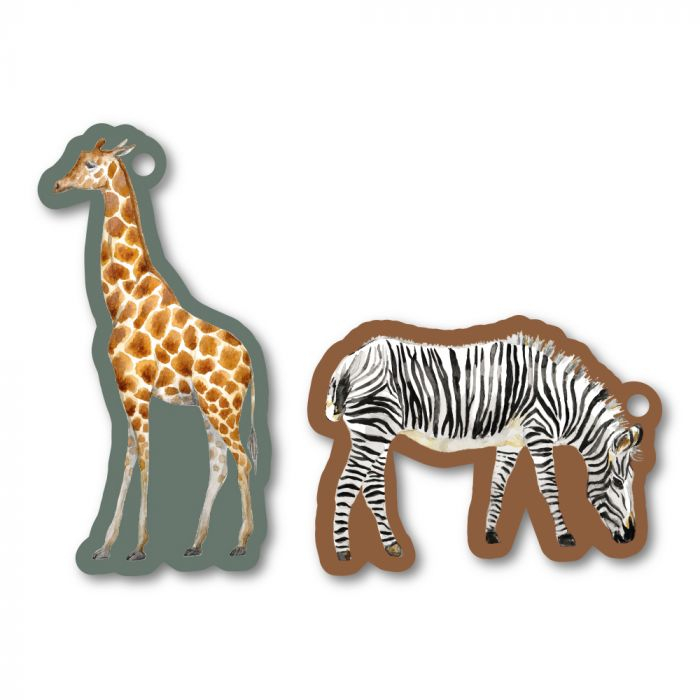 Label of tag giraffe of zebra