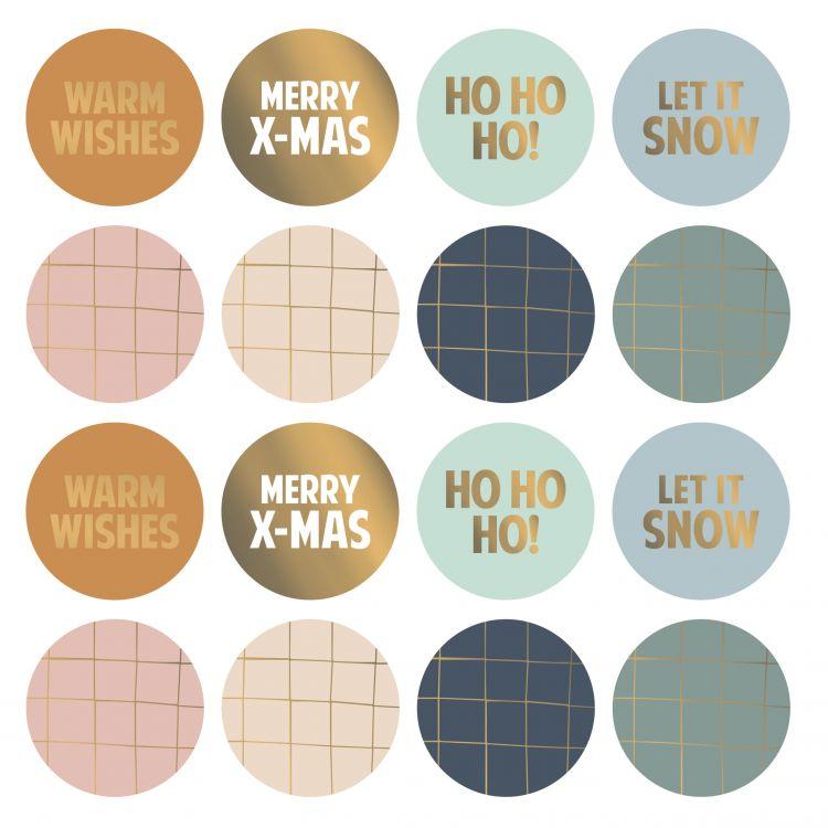 Kerst stickers tekst/grid gouddetail