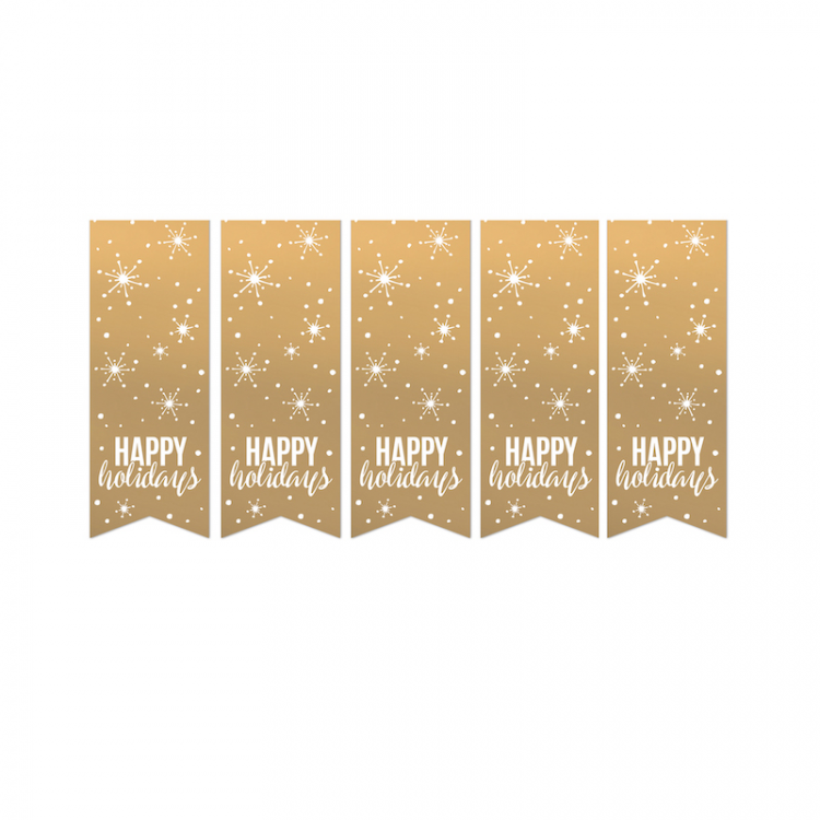 Cadeausticker goud 'Happy Holidays'