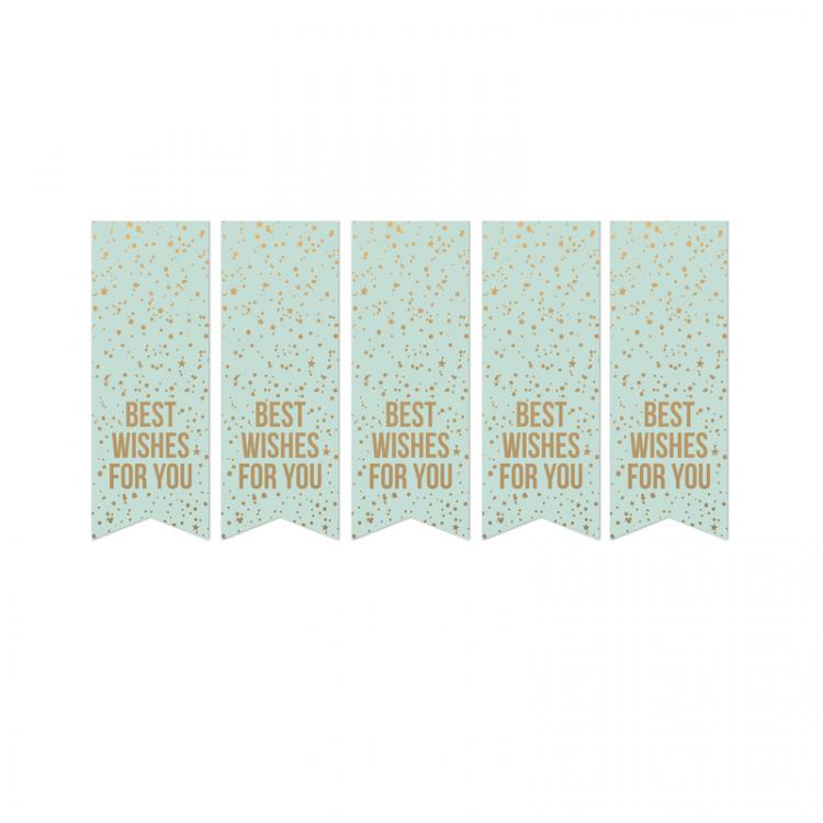 Cadeausticker mint met goud 'Best wishes for you'