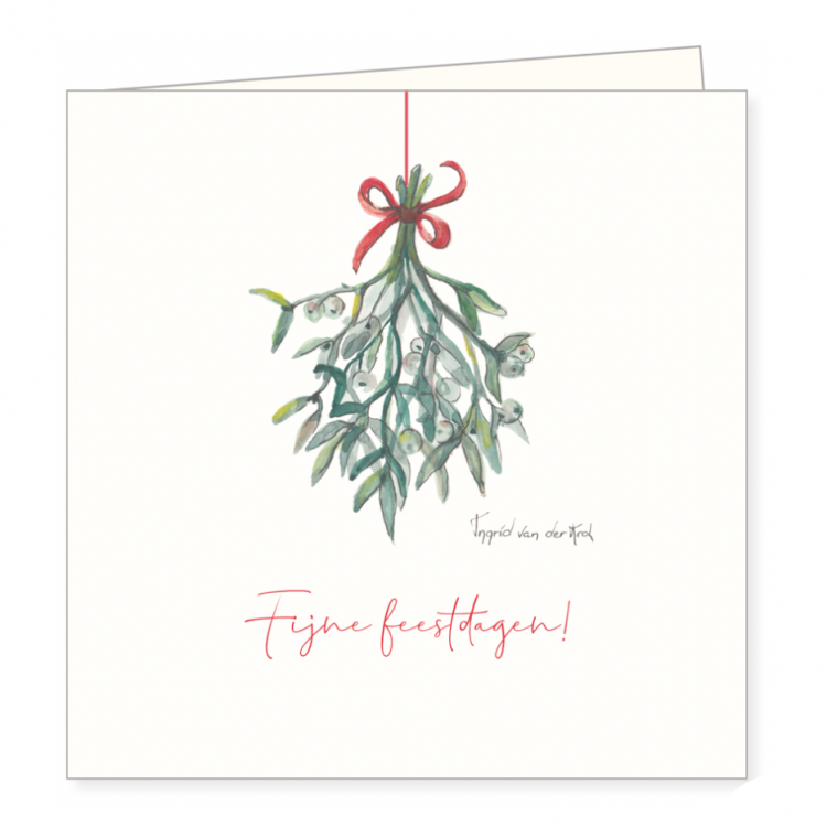 Kerstkaart mistletoe, Ingrid van der krol