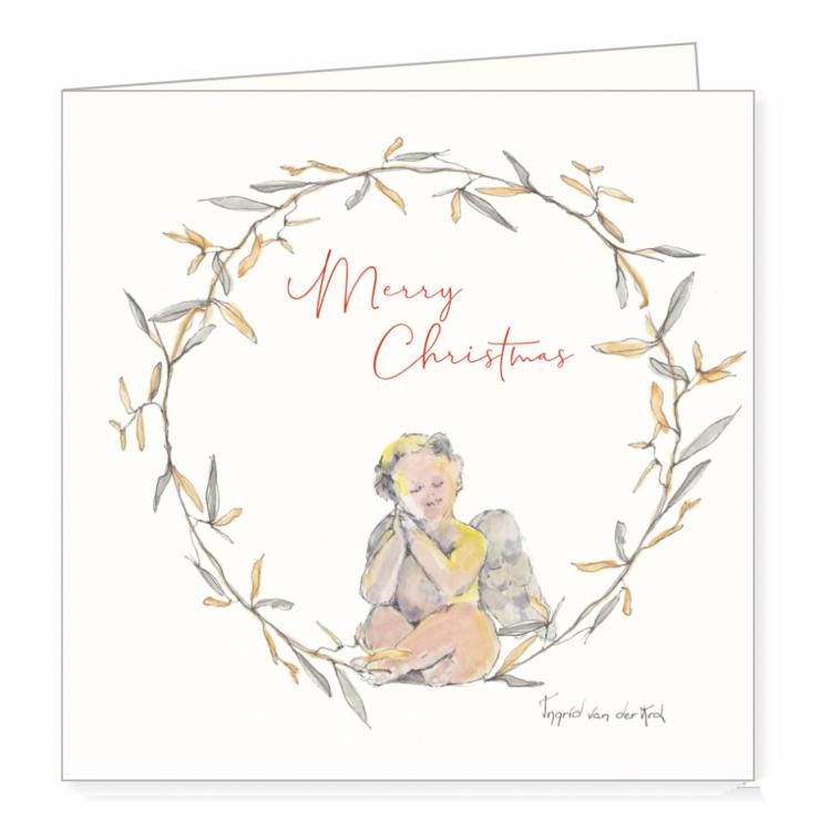 Kerstkaart engeltje, Ingrid van der krol