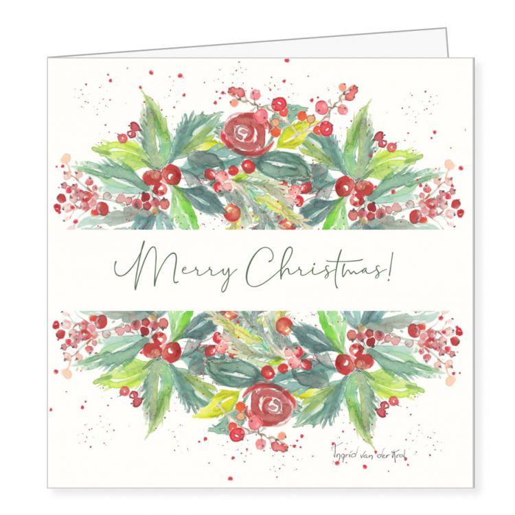 Kerstkaart kerstboeket, Ingrid van der krol