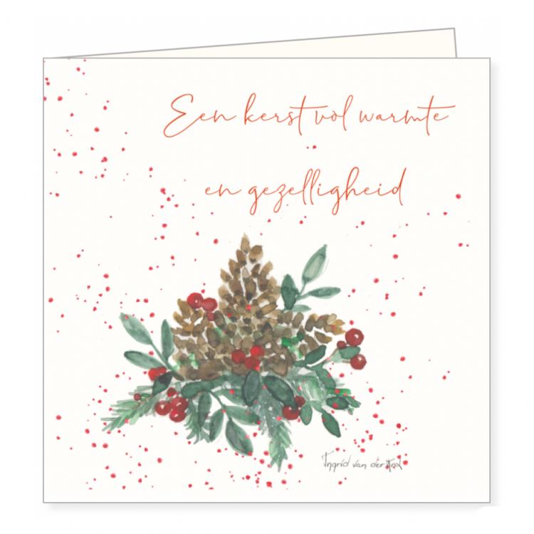 Kerstkaart kerststukje, Ingrid van der krol
