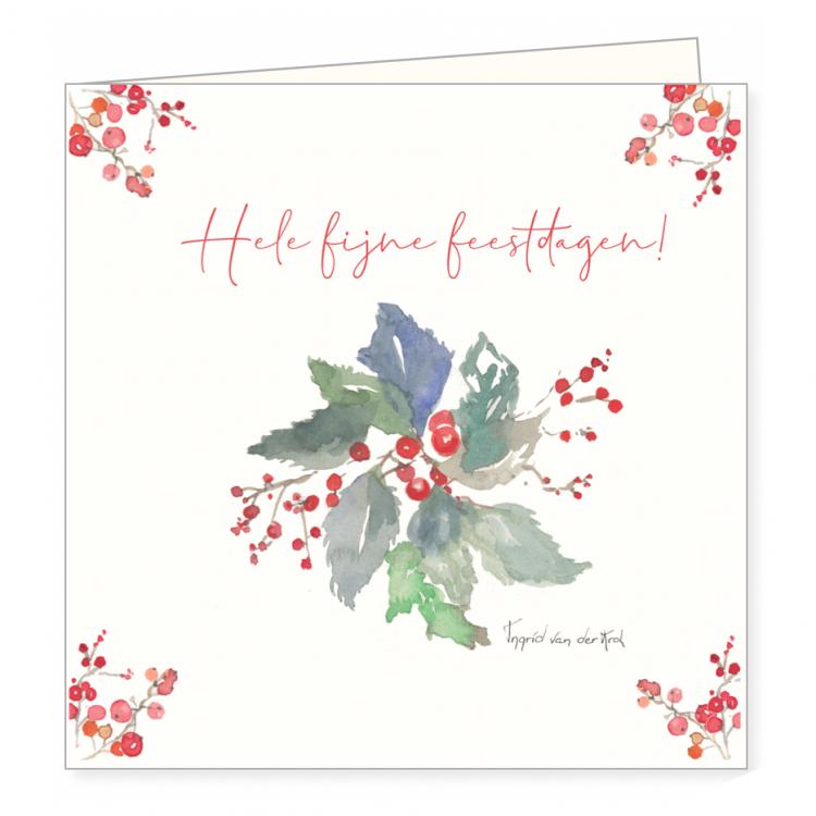 Kerstkaart takjes/besjes, Ingrid van der krol