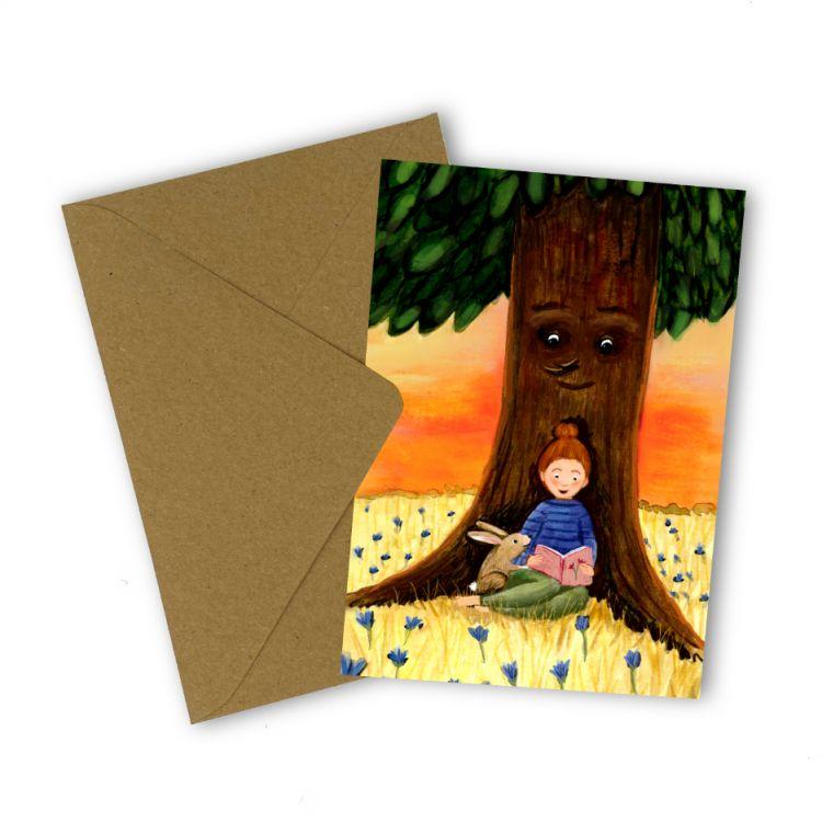 Kaart lezen onder boom,Esther Bennink