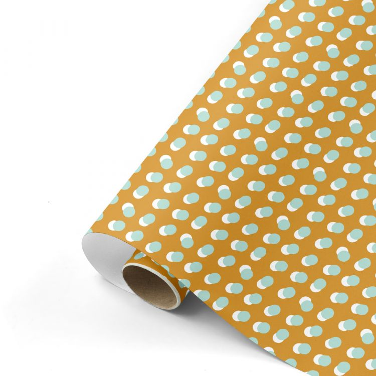 Cadeaupapier dots oker/mint, Studio Stationery