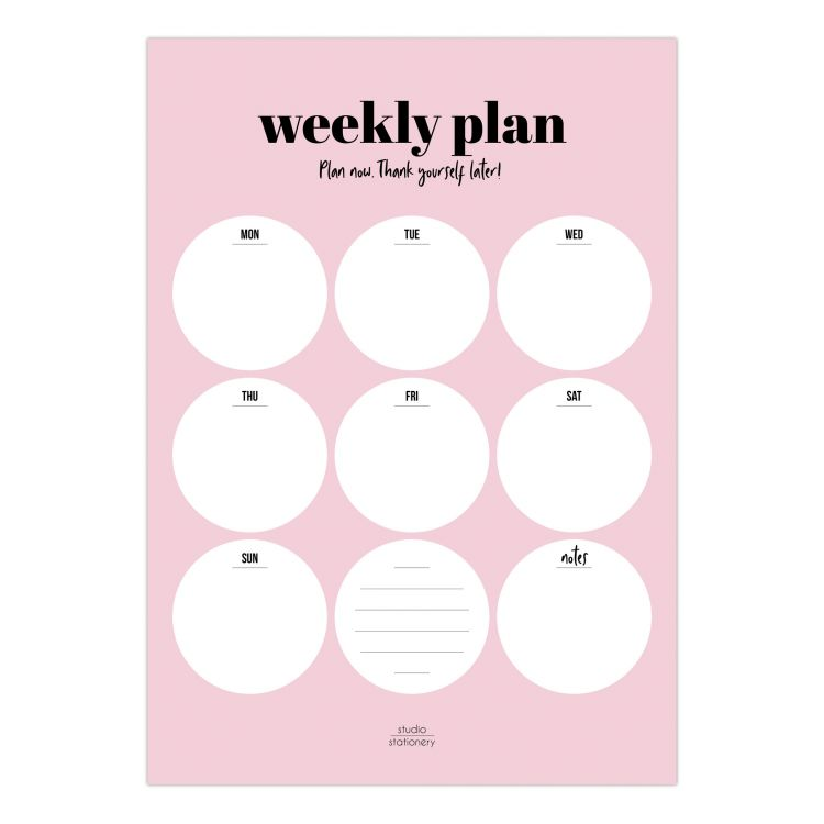 A4 Weekly planner pink, Studio Stationery