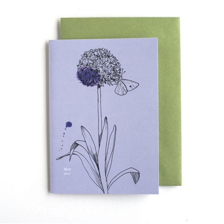 Dubbele kaart Allium/geluk, Veer&Moon