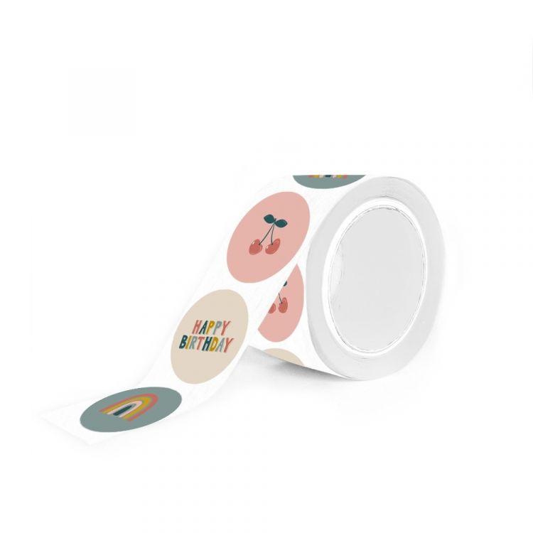 Sticker kers regenboog happy birthday (HOP)