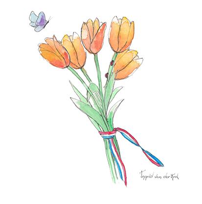 Minikaartje Hollandse tulp, Ingrid van der Krol