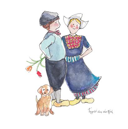 Minikaartje Hollandse boer/boerinnetje, Ingrid van der Krol