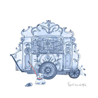 Minikaartje Hollandse blauw draaiorgel, Ingrid van der Krol