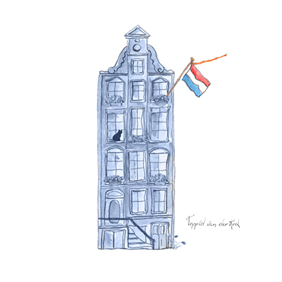 Minikaartje Hollandse blauw huisje, Ingrid van der Krol