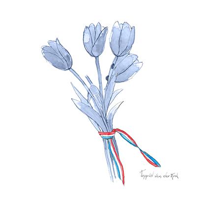 Minikaartje Hollandse blauw tulp, Ingrid van der Krol