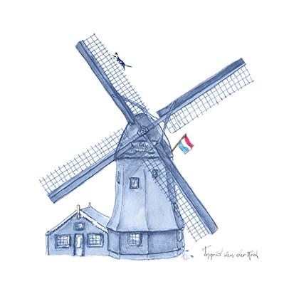 Minikaartje Hollands blauw molen, Ingrid van der Krol