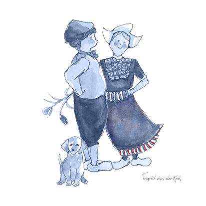 Minikaartje Hollands blauw boer/boerinnetje, Ingrid van der Krol