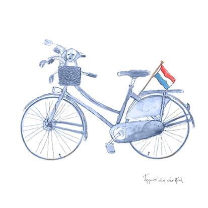 Minikaartje Hollands blauw fiets, Ingrid van der Krol