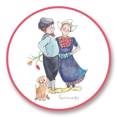 Sticker Hollands Boer/boerinnetje, Ingrid van der Krol