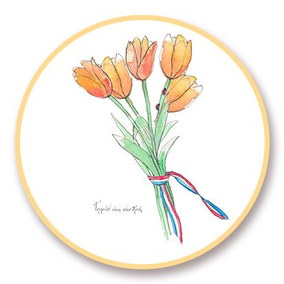 Sticker Hollands tulp, Ingrid van der Krol