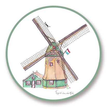 Sticker Hollands molen, Ingrid van der Krol