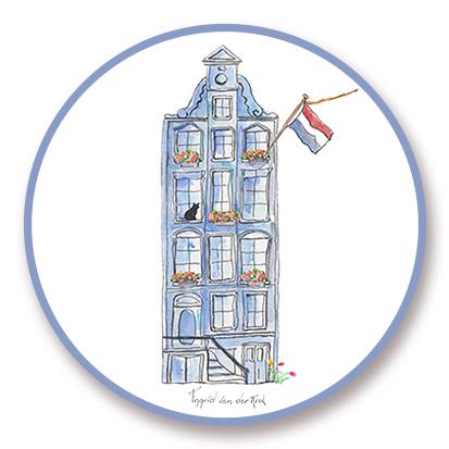 Sticker Hollands grachtenpand, Ingrid van der Krol