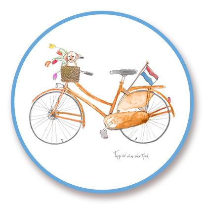 Sticker Hollands fiets, Ingrid van der Krol