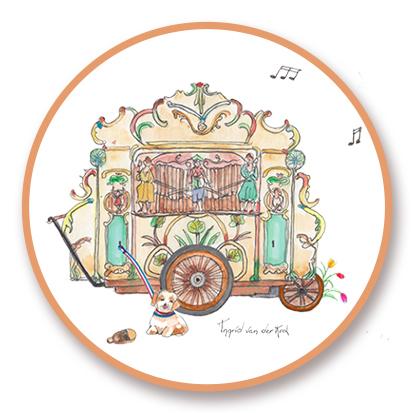 Sticker Hollands draaiorgel, Ingrid van der Krol