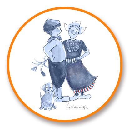 Sticker Hollands blauw boer/boerinnetje, Ingrid van der Krol