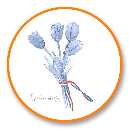 Sticker Hollands blauw tulp, Ingrid van der Krol