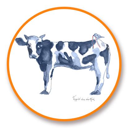 Sticker Hollands blauw koe, Ingrid van der Krol