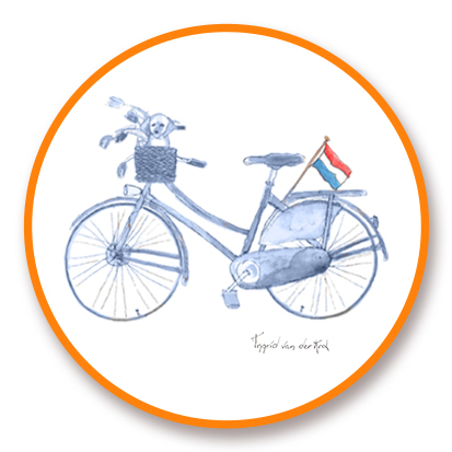 Sticker Hollands blauw fiets, Ingrid van der Krol