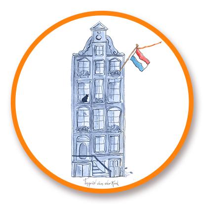 Sticker Hollands blauw grachtenpandje, Ingrid van der Krol