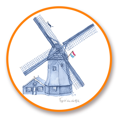 Sticker Hollands blauw molen, Ingrid van der Krol