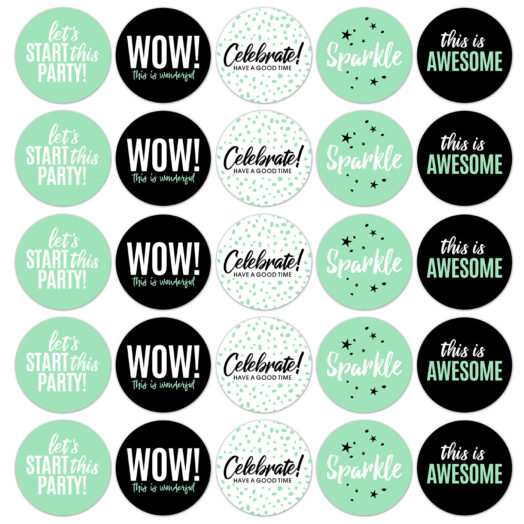 Sticker party mint rond (CWH)