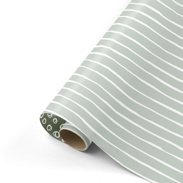 Cadeaupapier herfst 21 sage witte streep - groene dot (CWH)