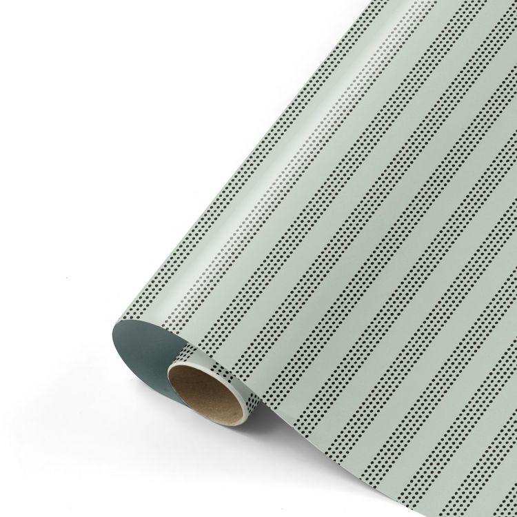Cadeaupapier herfst 21 sage met raster - groen metallic (CWH)