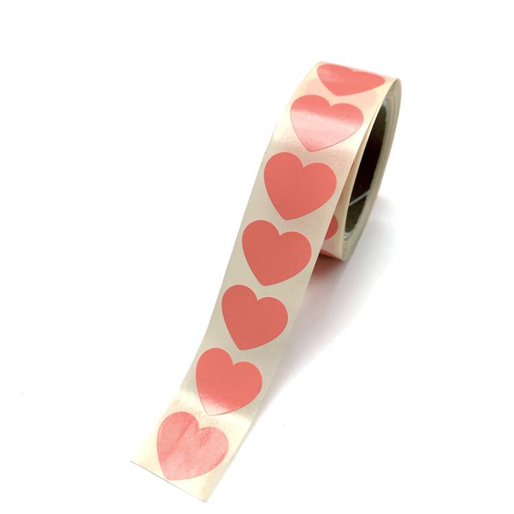 Hart sticker oranje/rose groot
