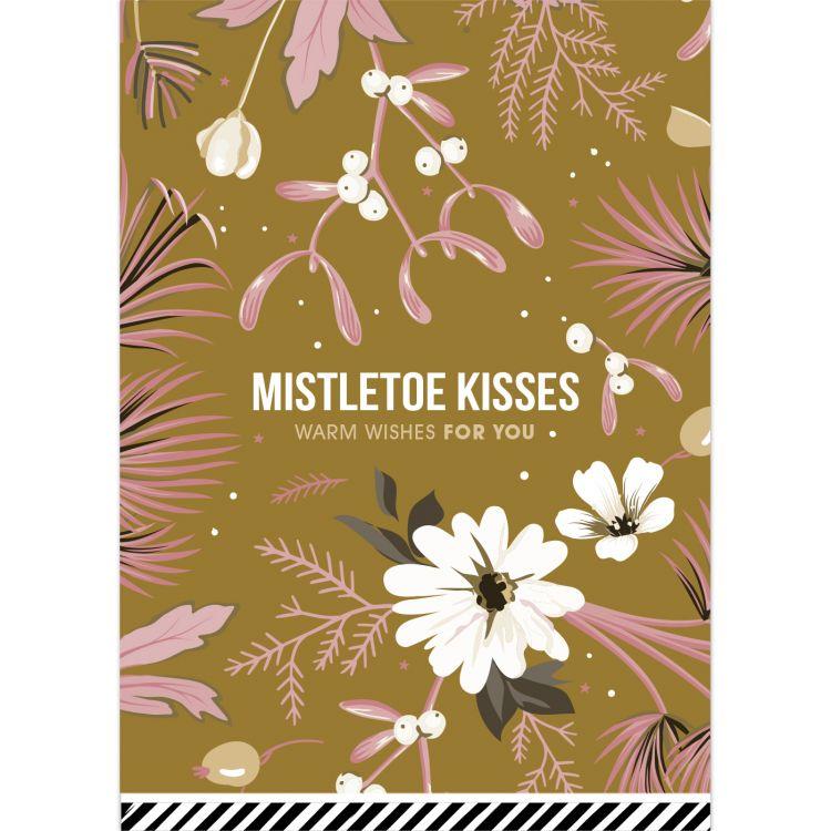 Kerstkaart vintage flowers oker Mistletoe kisses