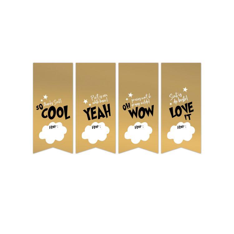 Sticker vaantje Sint goud met tekst (CWH)
