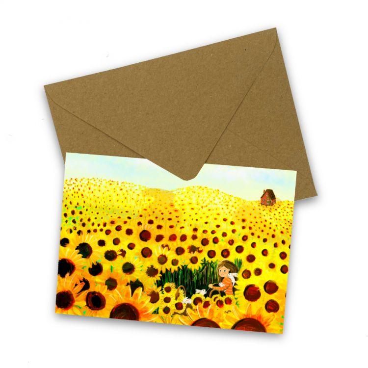Kaart zonnebloemenveld, Esther Bennink