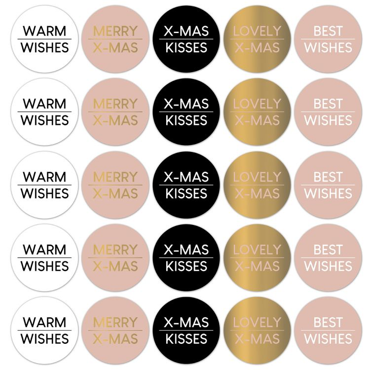 Kerst stickers rose tekst CWH