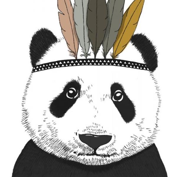 Kaart indianen panda, A6 of A5 Minimel