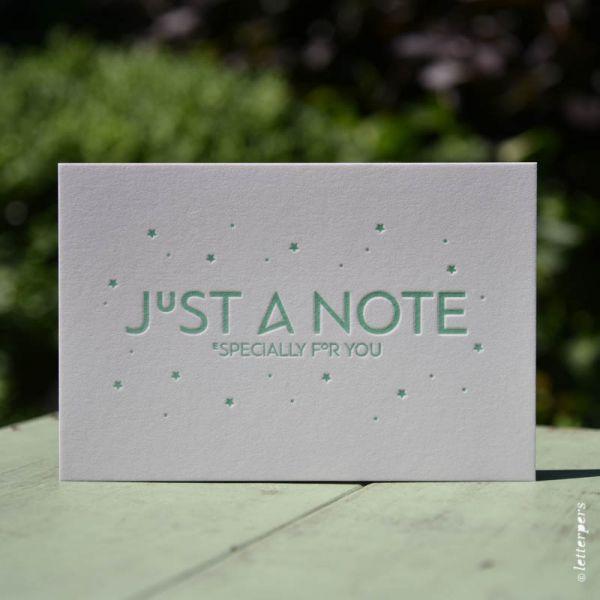 Wenskaart 'Just a Note' ambachtelijk gedrukt van Letterpers