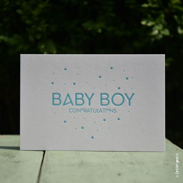 Wenskaart 'Baby Boy' ambachtelijk gedrukt van Letterpers