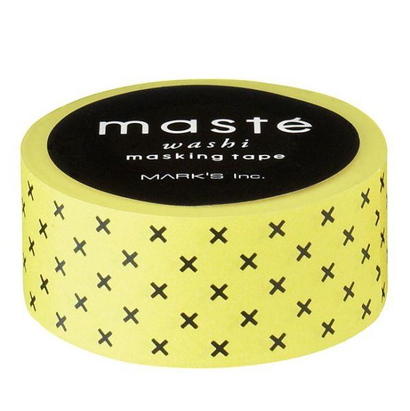 Maskingtape geel met zwarte kruisjes Masté
