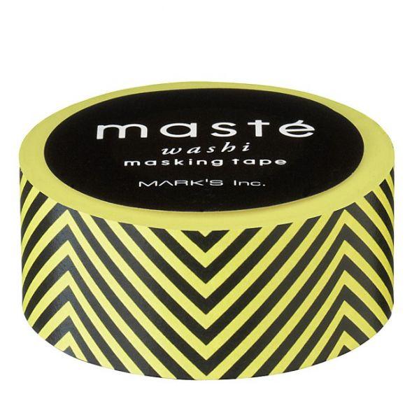 Maskingtape zwart/geel gestreept Masté