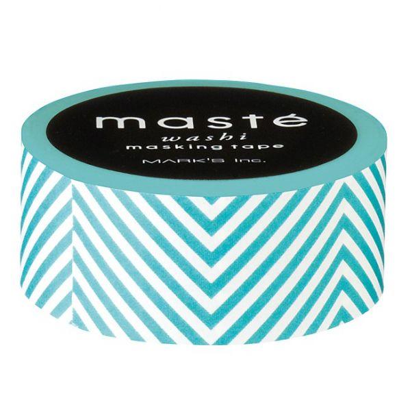 Maskingtape turquoise-wit gestreept Masté