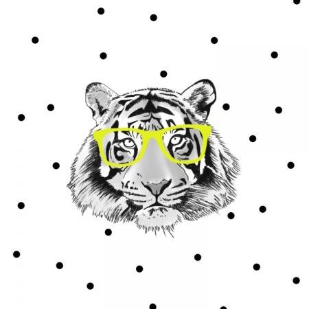 Poster tijger met gele bril, Minimel A3